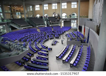 BERLIN, GERMANY - December 10,2018: the Bundestag ( Reichstag ) lower house of parliament in Berlin #1535317907