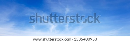 Panorama of clear blue sky with white cloud background. Clearing day and Good weather in the morning. #1535400950