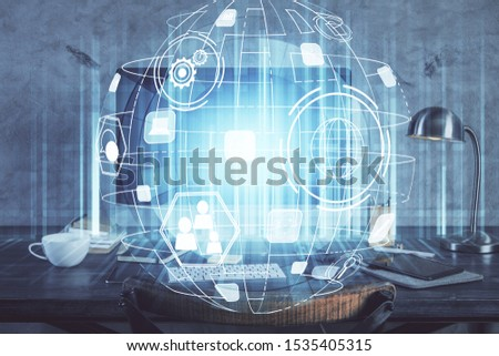 Computer on desktop with social network theme icon. Multi exposure. Concept of international connections. #1535405315