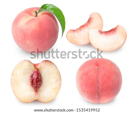 Peach fruit with leaf isolated on white background, Fresh White Peach on White Background (With clipping path) #1535419952