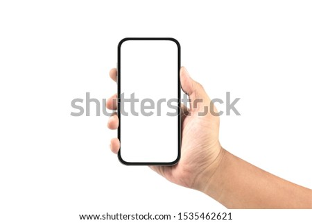 hand holding black smartphone with blank screen isolated on white background #1535462621