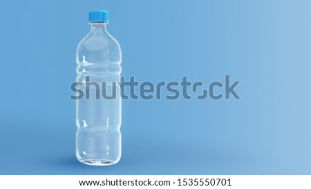 Clear Plastic Bottles, Packaging that can be Recycled. To Reduce Production and Reduce Pollution. Concept Save the World say no to plastic. 3D rendering  #1535550701