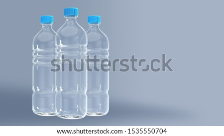Clear Plastic Bottles, Packaging that can be Recycled. To Reduce Production and Reduce Pollution. Concept Save the World say no to plastic. 3D rendering  #1535550704