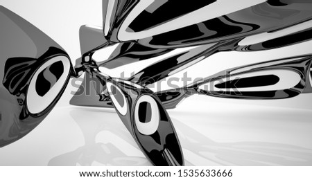 Abstract smooth architectural white and black gloss interior of a minimalist house with large windows. 3D illustration and rendering. #1535633666