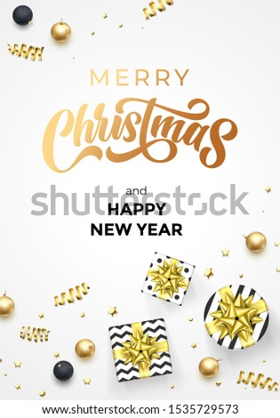 Merry Christmas and Happy New Year greeting card vector background template of golden calligraphy text. Vector Christmas gifts, golden ribbon and gold glitter confetti ball decoration on premium white #1535729573