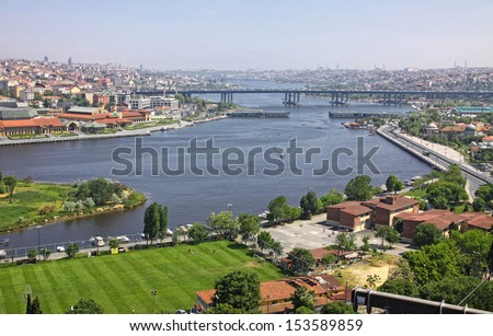 Istanbul city, Turkey. Panoramic view of Golden Horn inlet from Eyup-Pierre Loti Point #153589859