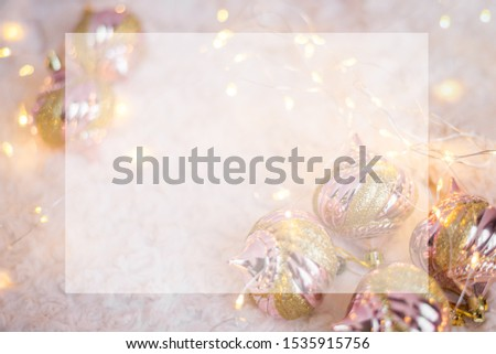 background for a Christmas card with Christmas lights and toys #1535915756