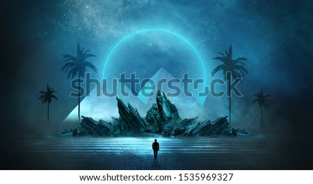 Futuristic night landscape with abstract landscape and island, moonlight, shine. Dark natural scene with reflection of light in the water, neon blue light. Dark neon circle background. Pyramids