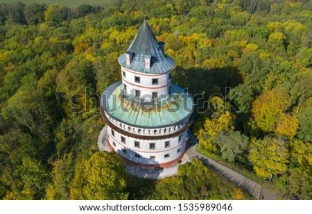 Sobotka - Humprecht castle. Baroque and Renaissance hunting chateau Humprecht dominates the region and one of the symbols of the region called Bohemian Paradise, Czech Republic, Europe. #1535989046