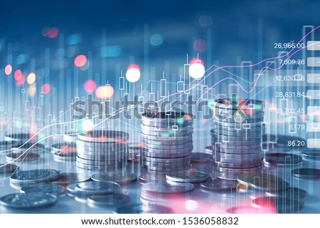 Financial stock market graph and rows of coins growth, abstract and symbol for finance concept, business investment and currency exchange, on blue background.  #1536058832