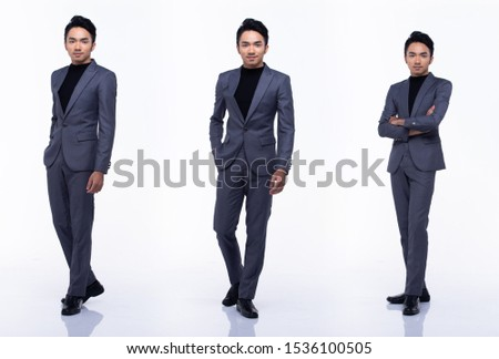 Full Length Snap Figure, Asian Business Man Stand in dark Black proper Suit pants and shoes, studio lighting white background isolated, Tanned Male Model pose many act, collage group pack 360 #1536100505