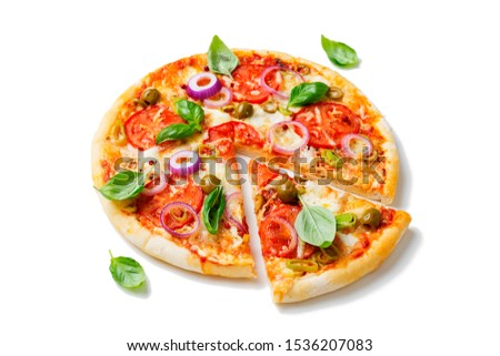 Italian pizza with melted mozzarella cheese green olives and tomato garnished with fresh vegetables and basil leaves.isolated on white background #1536207083