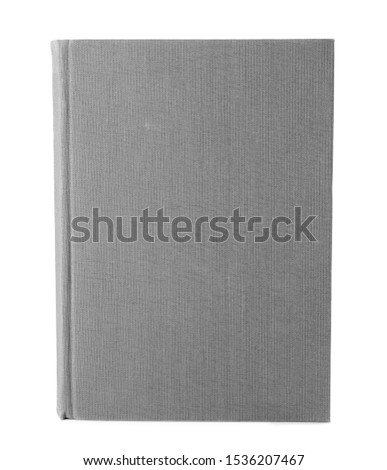 Book with blank grey cover on white background Royalty-Free Stock Photo #1536207467