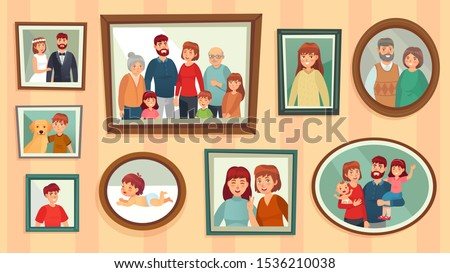 Cartoon family photo frames. Happy people portraits in wall picture frames, family portrait photos. Families generation framed portraits, dynasty photograph wall decor vector illustration