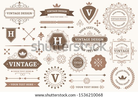 Vintage sign borders. Elegant frame, luxurious old design and antique typography border. Best product stamp, decorative border frames or victorian wedding card logo. Isolated vector symbols set #1536210068