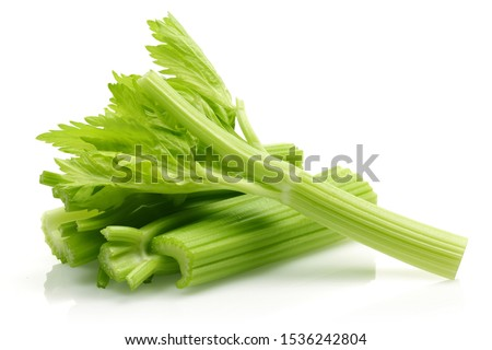 Fresh celery stalks and leaves isolated on white background #1536242804