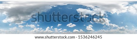 Seamless cloudy blue sky hdri panorama 360 degrees angle view with beautiful clouds  with zenith for use in 3d graphics or game as sky dome or edit drone shot #1536246245