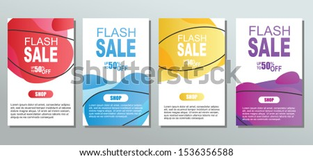 Set of dynamic abstarct geometric liquid shapes flash sale.Colorful sale banner template. Modern design covers on grey background for website, presentations or mobille apps. vector eps10 #1536356588