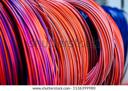 Colored telecommunications cables and wires, at the factory #1536399980