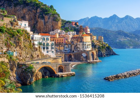 Atrani town by Amalfi on beautiful mediterranean Amalfi coast, Naples, Italy #1536415208
