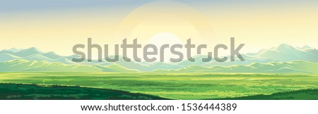 Summer mountain landscape, dawn over the valley, elongated format. #1536444389