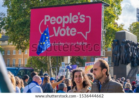 LONDON, UK - OCTOBER 19, 2019: Hundreds of thousands of people arrive in the capital to take part in the Put it to the People march. #1536444662