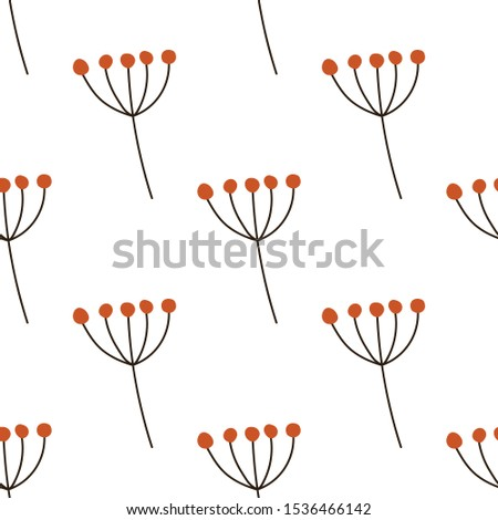 Seamless colorful hand drawn autumn symbols pattern. Vector illustration of berries in simple flat style. Fall season doodle.  #1536466142