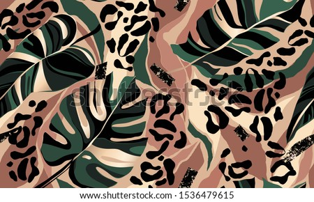 Modern exotic pattern with leopard skin. Creative collage contemporary floral seamless pattern. Fashionable template for design. Royalty-Free Stock Photo #1536479615