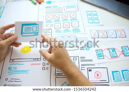 Website young designer Creative planning application  draft sketch drawing template layout framework wireframe design studio.