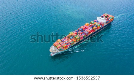 Cargo ships with full container receipts to import and export products worldwide #1536552557