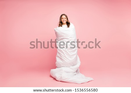 Full length body size view of her she nice attractive cute cheerful cheery wavy-haired pre-teen girl standing wrapped covered in soft white blanket isolated over pink pastel color background #1536556580