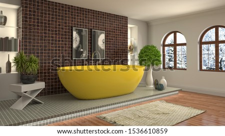 Bathroom interior. 3D illustration. Bath. #1536610859