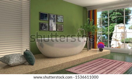 Bathroom interior. 3D illustration. Bath. #1536611000