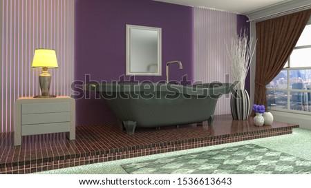 Bathroom interior. 3D illustration. Bath. #1536613643