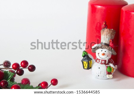 Christmas card with Christmas figures and branch with red berries #1536644585