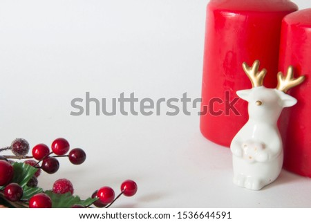 Christmas card with Christmas figures and branch with red berries #1536644591