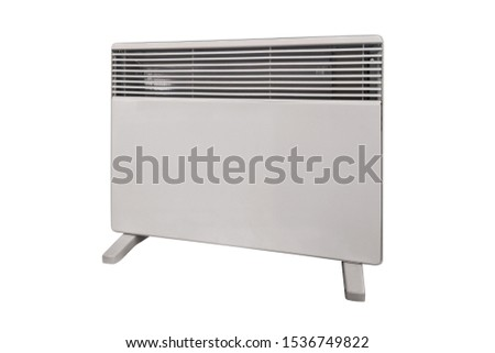 Electric heater battery. Radiator. Home electric heater convector isolated on white background. Equipment for rapid heating of the room. #1536749822