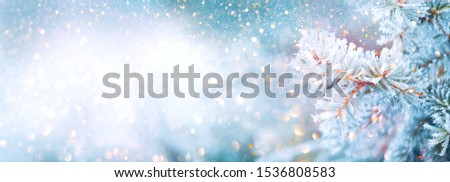 Christmas winter blurred background. Xmas tree with snow decorated with garland lights, holiday festive background. Widescreen backdrop. New year Winter art design, wide screen holiday border #1536808583