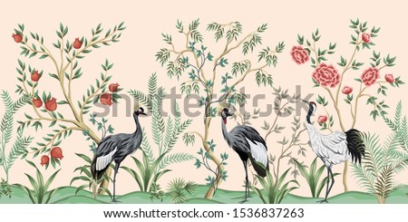Vintage garden tree, pomegranate tree, plant, crane bird floral seamless border pink background. Exotic chinoiserie wallpaper. #1536837263