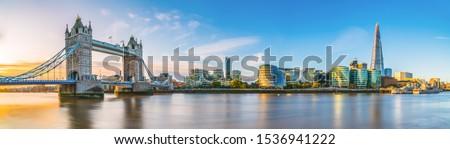 Tower Bridge morning panorama in autumn. London. England Royalty-Free Stock Photo #1536941222
