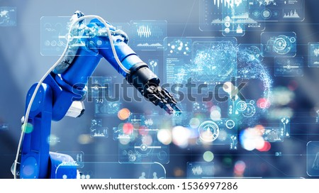 Industrial technology concept. Factory automation. Smart factory. INDUSTRY 4.0 Royalty-Free Stock Photo #1536997286