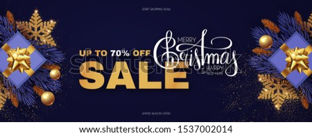 Christmas Sale design template with gifts, fir tree branches, glossy golden balls, elegant gold snowflakes and lettering. #1537002014