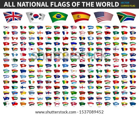 All national flags of the world . Curved design . White isolated background . Elements vector . #1537089452