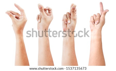 GROUP of Male asian hand gestures isolated over the white background. SNAP ACTON. Royalty-Free Stock Photo #1537135673