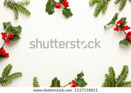 Christmas background with branches of fir tree, evergreens and holly with red berries on white. Winter nature concept. Flat lay, copy space. #1537158851