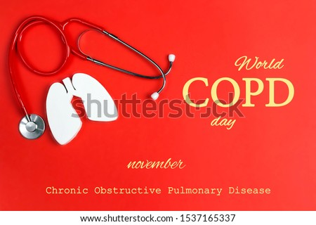 World COPD day concept with lung symbol and stethoscope on a red background. Banner for medical campaign against chronic obstructive pulmonary disease in november. Royalty-Free Stock Photo #1537165337