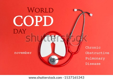 World COPD day concept with lung symbol and stethoscope on a red background. Banner for medical campaign against chronic obstructive pulmonary disease in november. Royalty-Free Stock Photo #1537165343