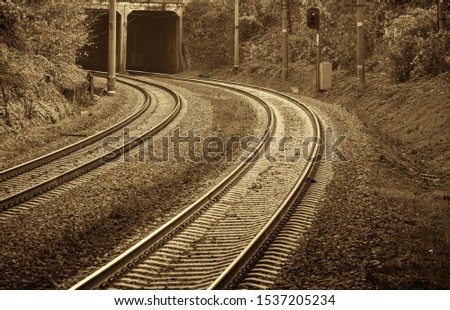 Railroad, two tracks. The frame is a smooth rotation. Entry into the tunnel. Black and white photo, high contrast. The picture shows trees, bushes, grass. Sepia