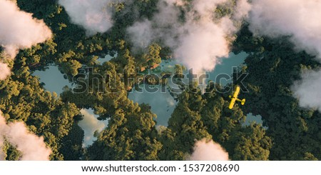 Sustainable habitat world concept. Distant aerial view of a dense rainforest vegetation with lakes in a shape of world continents, clouds and one small yellow airplane. 3d rendering. #1537208690