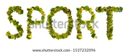 Sport. Healthy lifestyle and nutrition. English alphabet. Text from the products. Broccoli, asparagus, carrots. Designer font. Vegetable Font. #1537232096